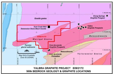 Figure 1: Yalbra project, geology and tenure